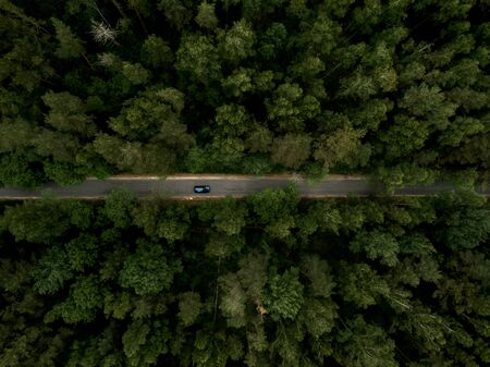 Asphalt road with car through the green forest. Summer landscape. Top view. Drone photo.