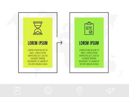 Timeline creative design linear infographics template. Business vector illustration with 2 options, arrows. Can be used for diagrams, presentations, workflow layout, flow chart
