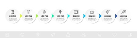 Infographic circles with eight steps, arrows. Line vector template. Can be used for diagram, banner, workflow layout, presentations, flow chart, info graph, timeline, content, levels
