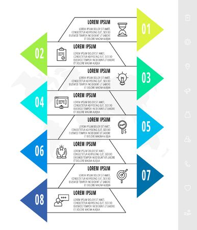 Infographics with 8 elements with arrows. Vector concept of eight sbusiness options to choose from. Modern design for flowchart, timeline, web, graph, presentation.