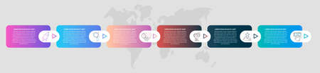 Timeline creative design 3D infographics template. Business vector illustration with 6 options, arrows. Can be used for process banner, diagram, app, info graph, workflow layout, presentation