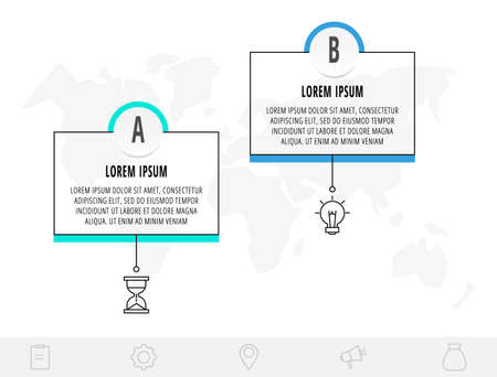 Thin line infographic template with 2 steps, labels. Modern business concept infographics with circles for brochure, diagram, workflow, timeline. 矢量图像