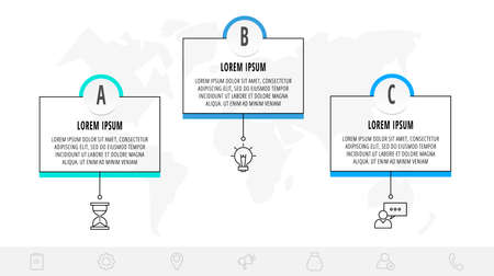Thin line infographic template with 3 steps, labels. Modern business concept infographics with circles for brochure, web, banner, workflow layout, presentations, flow chart.