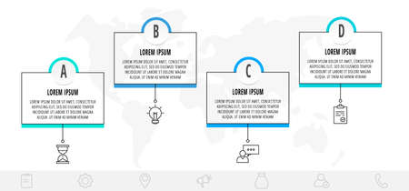 Thin line infographic template with 4 steps, labels. Modern business concept infographics with circles for flow chart, info graph, timeline, content, levels.