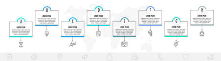 Thin line infographic template with 8 steps, labels. Modern business concept infographics with circles for diagram, web, workflow layout, presentations, flow chart, info graph, timeline, content.