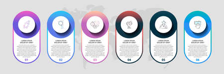 Vector template circle infographics. Business 3D concept with 6 options and parts. Six steps for content, graph, diagrams, slideshow, presentations, flow chart.