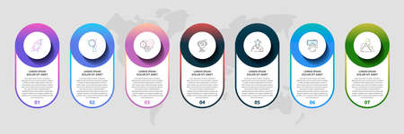 Vector template circle infographics. Business concept with 7 options and parts. Seven steps for content, flowchart, timeline, levels Illusztráció