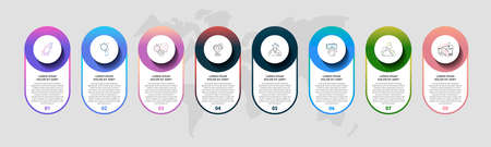 Vector template circle infographics. Business 3D concept with 8 options and parts. Eight steps for graph, diagrams, slideshow, web, banner, workflow layout