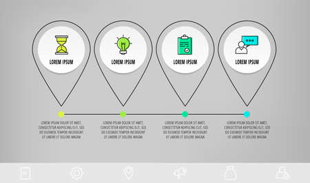 Infographics circles with 4 steps, icons. Flatline vector template. Can be used for four business, web, banner, workflow layout, flowchart, info graph, timeline, content, chart, processes diagram.