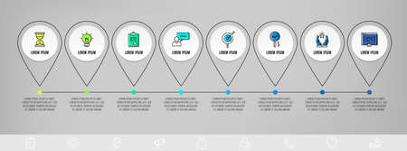 Infographics circles with 8 steps, icons. Flatline vector template. Can be used for eight diagrams, business, web, banner, workflow layout, presentations, flowchart, info graph, timeline, content
