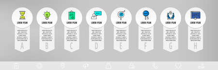 Infographics with 8 circles and arrows. Modern vector template. Can be used for eight diagrams, business, web, banner, flowchart, info graph, content, chart, processes diagram