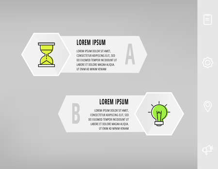 Infographics with 2 hexagons, arrows. Modern vector template. Can be used for two diagrams, business, web, banner, workflow layout, presentations, flowchart, info graph, timeline, levels, chart