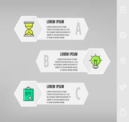 Infographics with 3 hexagons, arrows. Modern vector template. Can be used for three diagrams, business, web, banner, info graph, timeline, content, chart, processes diagram. Data visualization. 矢量图像