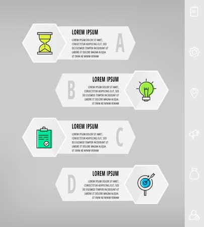 Infographics with 4 hexagons, arrows. Modern vector template. Can be used for four banner, workflow layout, presentations, flowchart, info graph, timeline, levels, chart, processes diagram.