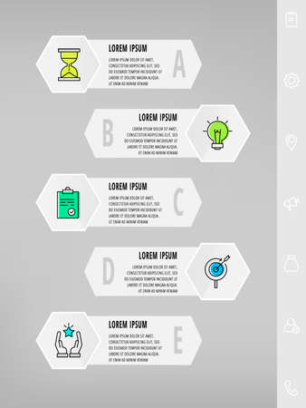 Infographics with 5 hexagons, arrows. Modern vector template. Can be used for five diagrams, business, web, banner, workflow layout, presentations, flowchart, info graph, timeline