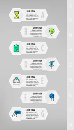 Infographics with 7 hexagons, arrows. Modern vector template. Can be used for seven diagrams, business, web, banner, presentations, flowchart, info graph, levels, chart, processes diagram 矢量图像
