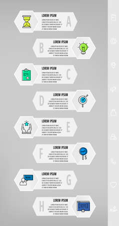 Infographics with 8 hexagons, arrows. Modern vector template. Can be used for eight diagrams, web, banner, info graph, timeline, content, levels, chart, processes diagram. Data visualization
