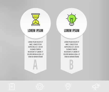 Infographics with 2 circles and arrows. Modern vector template. Can be used for two diagrams, business, web, workflow layout, presentations, flowchart, info graph, timeline, content, levels, chart