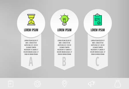 Infographics with 3 circles and arrows. Modern vector template. Can be used for three diagrams, web, banner, workflow layout, presentations, flowchart, chart, processes diagram. Data visualization.
