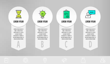 Infographics with 4 circles and arrows. Modern vector template. Can be used for four diagrams, web, layout, presentations, info graph, timeline, content, levels, processes diagram. Data visualization.