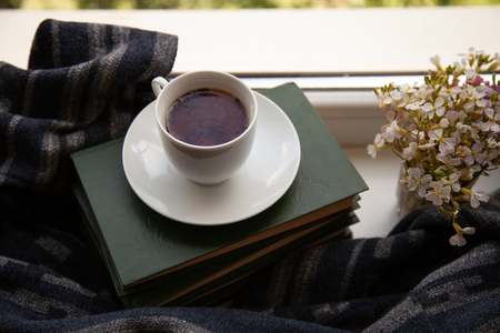 white cup with tea on the books on the windowsill with a scarf