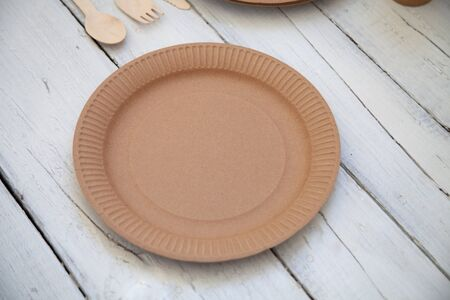Eco paper plate on empty white background