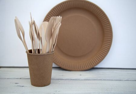 natural disposable eco ware from cardboard paper knife wood cup