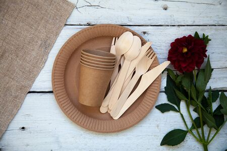 Eco-friendly disposable paper tableware. Party, picnic and camping concept, camping utensils Banco de Imagens