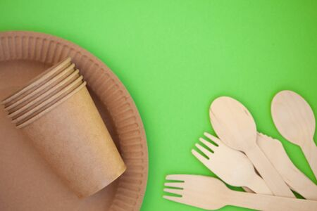 Zero waste, environmentally friendly, disposable tableware, cardboard tableware, paper tableware, space for text, view from the top. Save the planet. Banco de Imagens