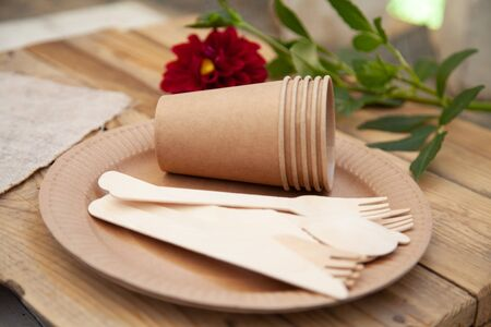 Disposable tableware from natural materials, wooden knife, spoon, fork, environmentally friendly. Ecological dishes in nature. Place for text. Banco de Imagens
