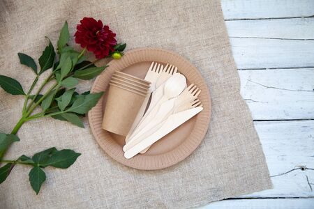 Various eco-friendly kraft paper packaging, containers for takeaway food. Zero waste and recycling concept. Stock Photo
