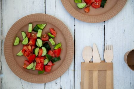 paper cardboard dishes with vegetable salad tomatoes cucumbers with wooden devices fork knife horse