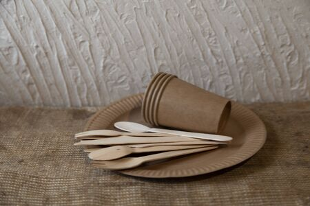 disposable eco dishes from paper cardboard spoon fork knife Reklamní fotografie - 135510327
