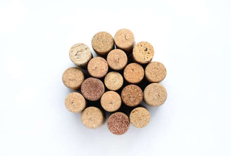 uncork: Group of wine corks isolated on white background Stock Photo