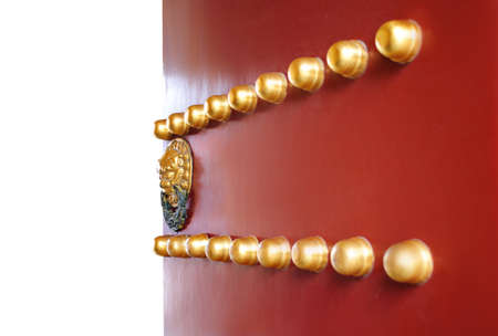 Traditional red chinese gate with gold lion and free space