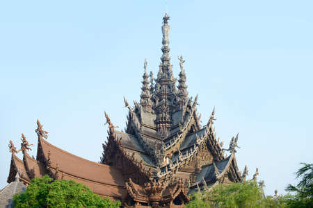 The Sanctuary of Truth made of wood in Pattaya, Chonburi, Thailand. Travel destinations for tourist.