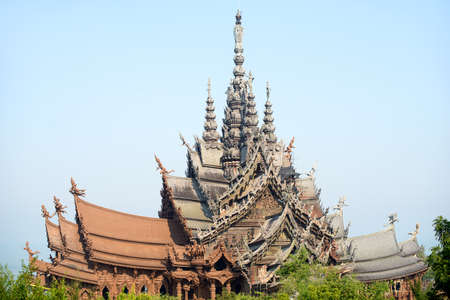 The Sanctuary of Truth made of wood in Pattaya, Chonburi, Thailand. Travel destinations for tourist. Фото со стока
