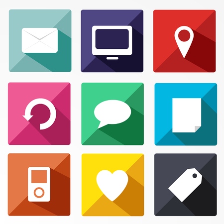 application icons: Trendy Vector Icons With Long Shadow vector