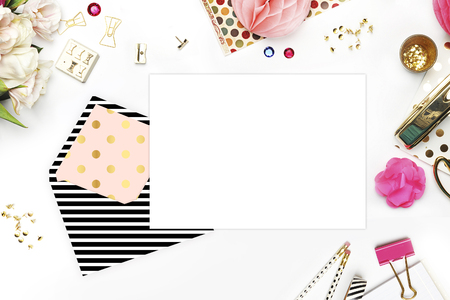 articulos de oficina: Header website or Hero website, Table view office items, white background mock up, woman desk. Polka gold pattern and black stripe Foto de archivo
