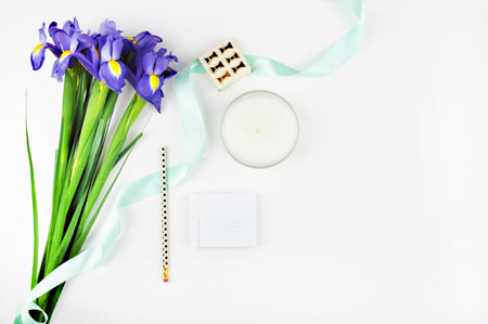 Styled stock photography, desktop, White desktop woman, table view, mockup, flowers irises, gold