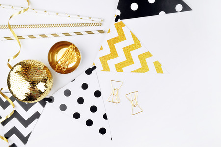 Xmas background. Decor table view. Flat Lay. Party mockup. Gold items