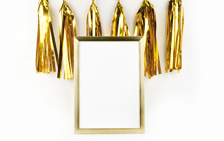 Mockup frame. Gold decoration. Gold frame and  Gold tassel Stock Photo