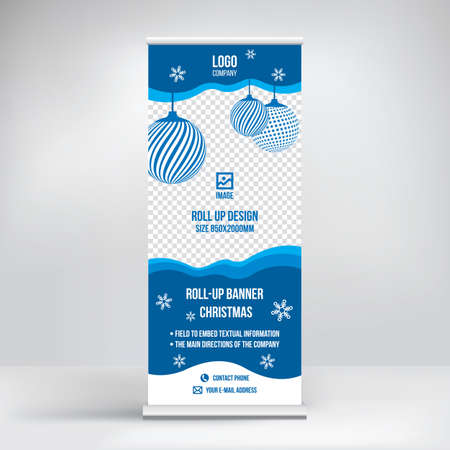 Roll-up banner design, exhibition stand, template for conferences, seminars