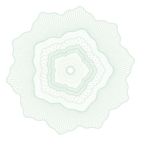 Guilloche rosette, a template for the protection of securities, an ornament in the form of wavy curly lines in the form of a flower 向量圖像