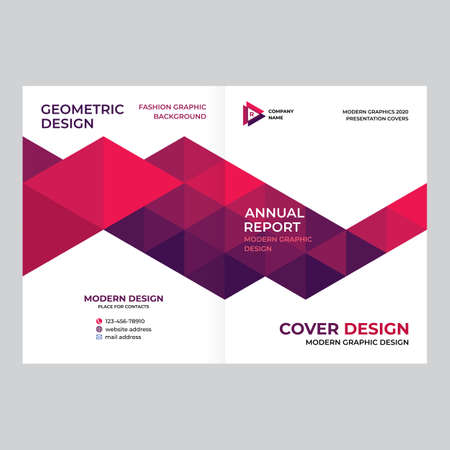 Design of catalog cover, booklet, flyer, creative composition of triangles, red background vector Ilustração Vetorial