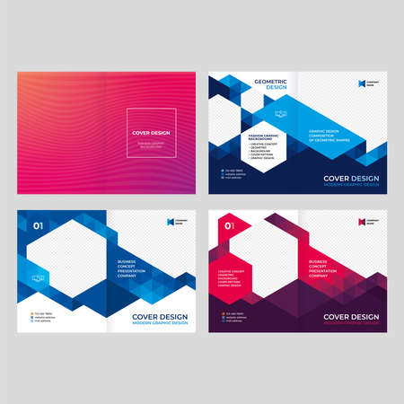 Design of catalog cover, booklet, flyer, creative composition of triangles, red background vector