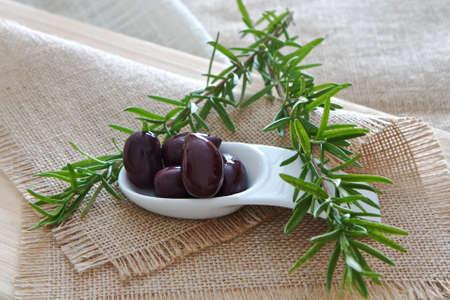 Olives with Rosemary Stock Photo