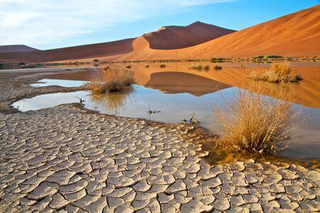 duna: La tierra agrietada y las dunas de color rojo con reflejos en el agua en el paisaje de Namibia