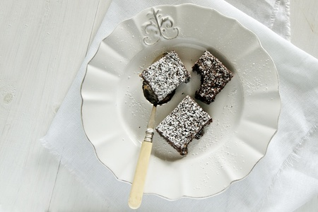 Delicious chocolate brownies on white plate  Stock Photo