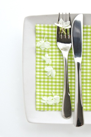 Spring table place setting with knife and fork